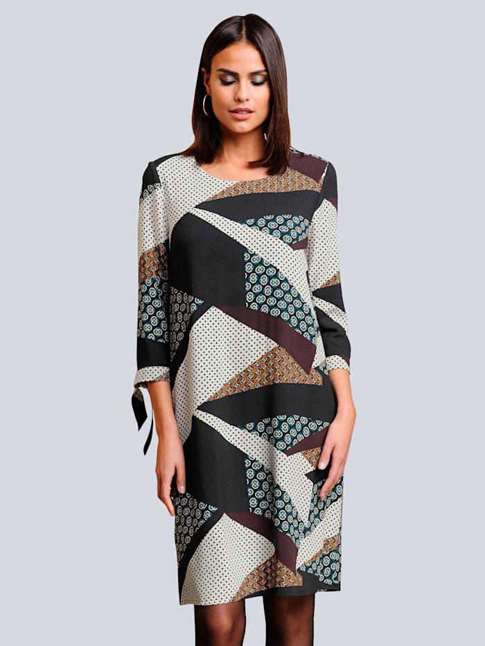 Alba Moda Kleid mit einem farbharmonischem grafischen Druck allover, Schwarz/Cognac/Off-white