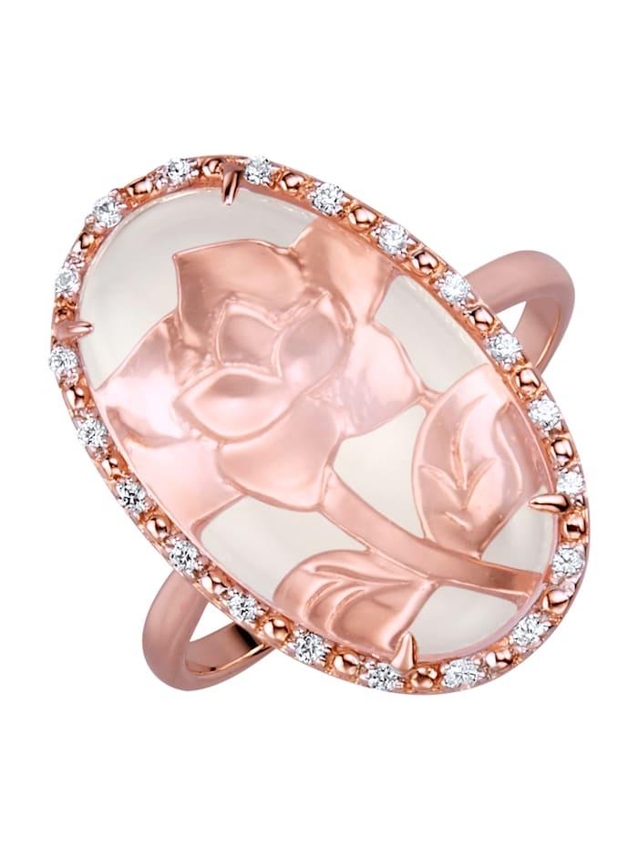 Amara Pierres colorées Bague à quartz rose, Rose