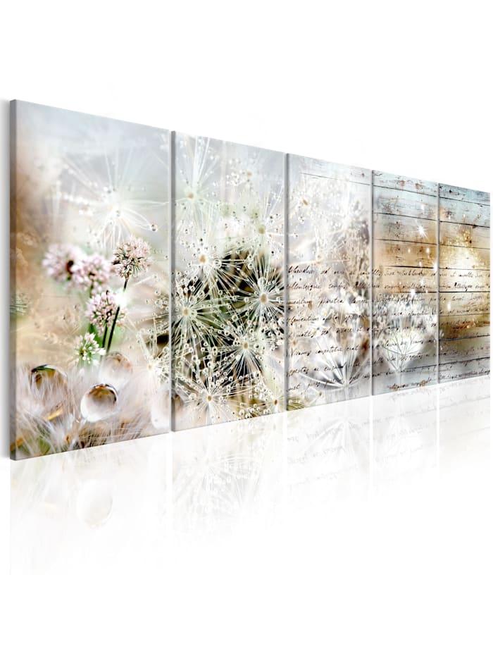artgeist Wandbild Abstract Dandelions I, Beige,Schwarz,Blau,Grün,rosa,Weiß