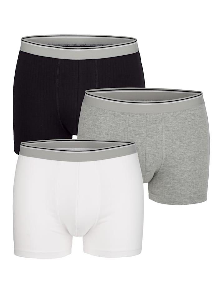 BABISTA Boxershorts met naaldtricot, Zwart/Wit/Grijs