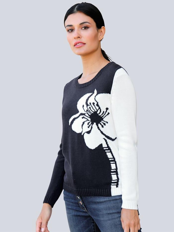 Alba Moda Pullover mit Blumenmotiv, Marineblau/Off-white
