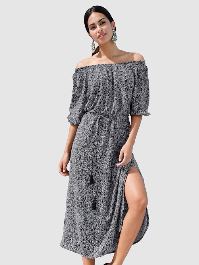 AMY VERMONT Kleid mit dekorativem Allover-Druck, Schwarz/Off-white
