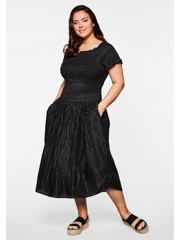 Sheego Sheego Kleid mit gesmoktem Oberteil, schwarz