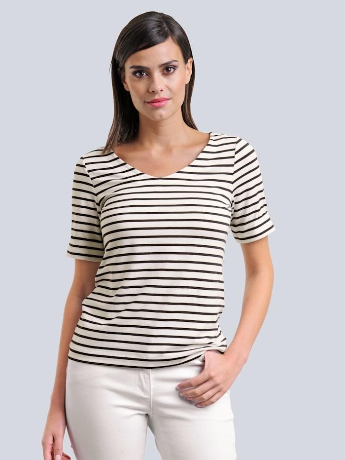 Alba Moda Shirt in schönem Streifendessin allover, Schwarz/Off-white