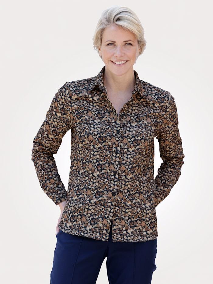 MONA Bluse in Feincord-Qualität, Braun/Taupe/Marineblau