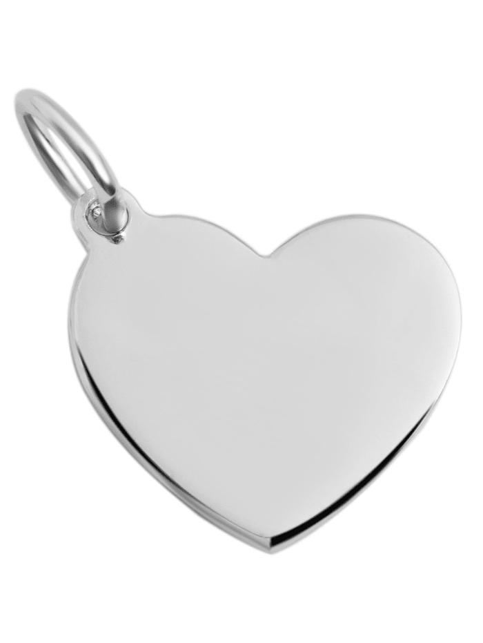 1001 Diamonds Damen Anhänger Gravur Herz aus 925 Silber, silber