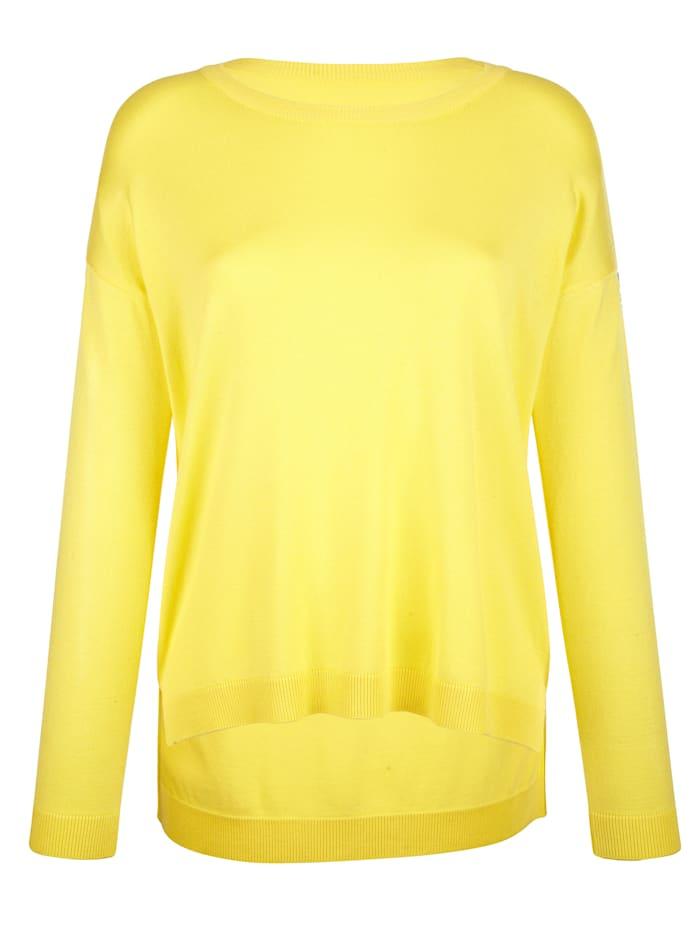 AMY VERMONT Pullover mit dekorativem Tape an den Ärmeln, Gelb