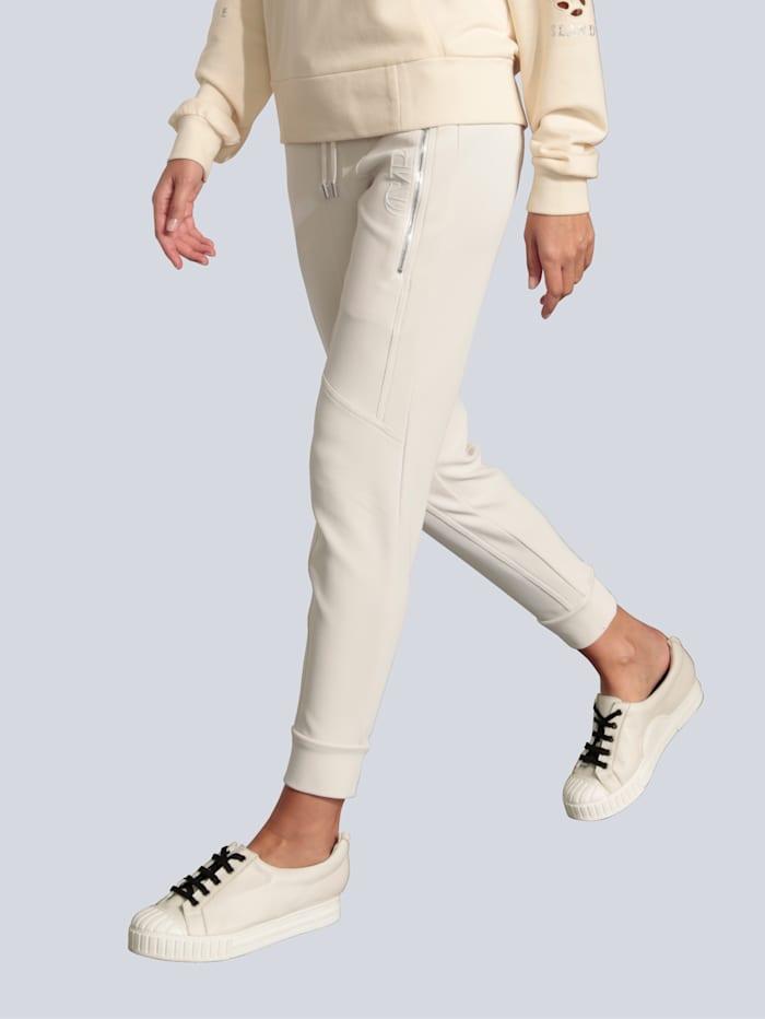 CAMBIO Hose im Jogpantstyle, Creme-Weiß
