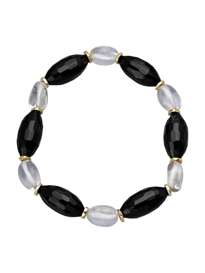 Armband aus Achaten und Bergkristallen, Schwarz