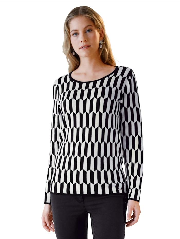AMY VERMONT Pullover mit grafischem Muster, Weiß/Schwarz