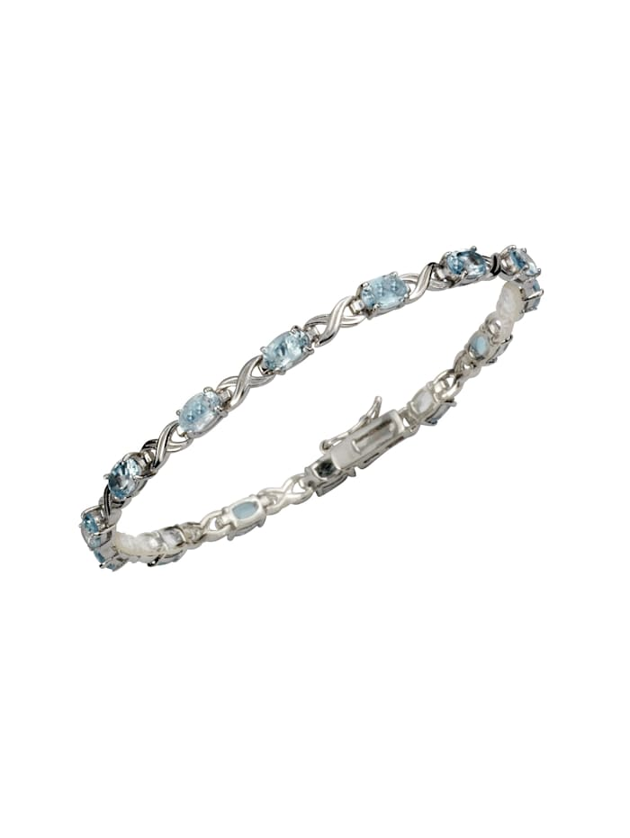 ZEEme Armband 925/- Sterling Silber Blautopas 925/- Sterling Silber Topas 19cm Rhodiniert, weiß