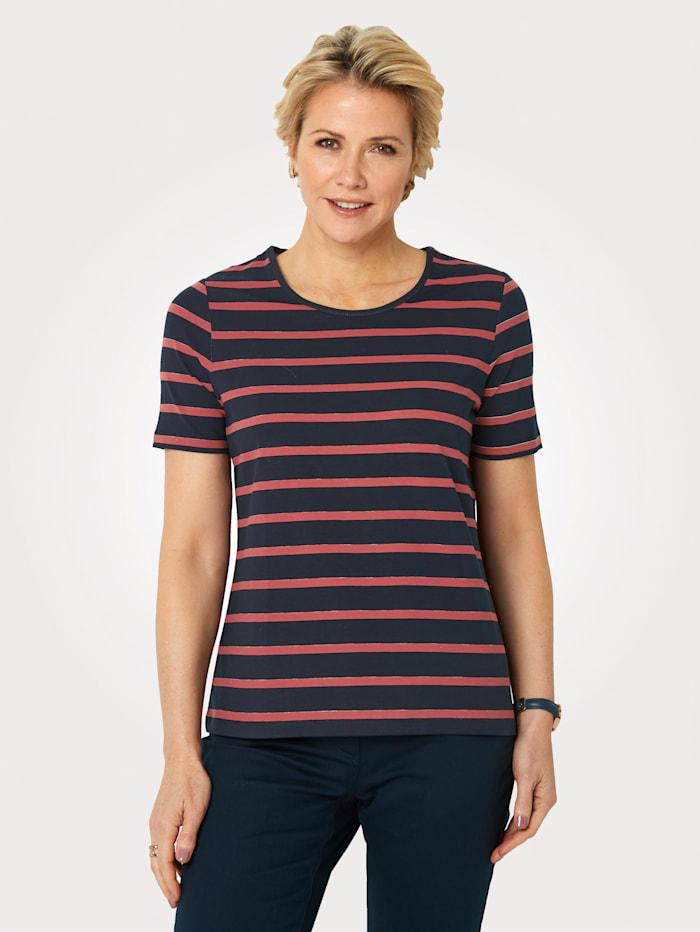 MONA Shirt van Pima-katoen, Marine/Terracotta