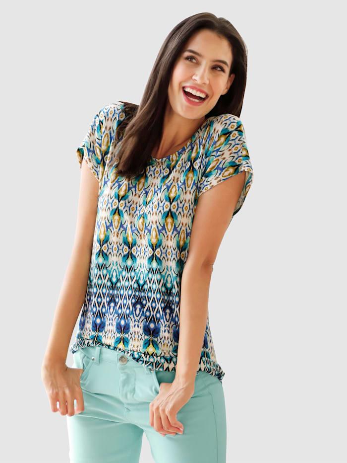 Laura Kent T-shirt à imprimé ethnique, Blanc/Menthe/Bleu roi
