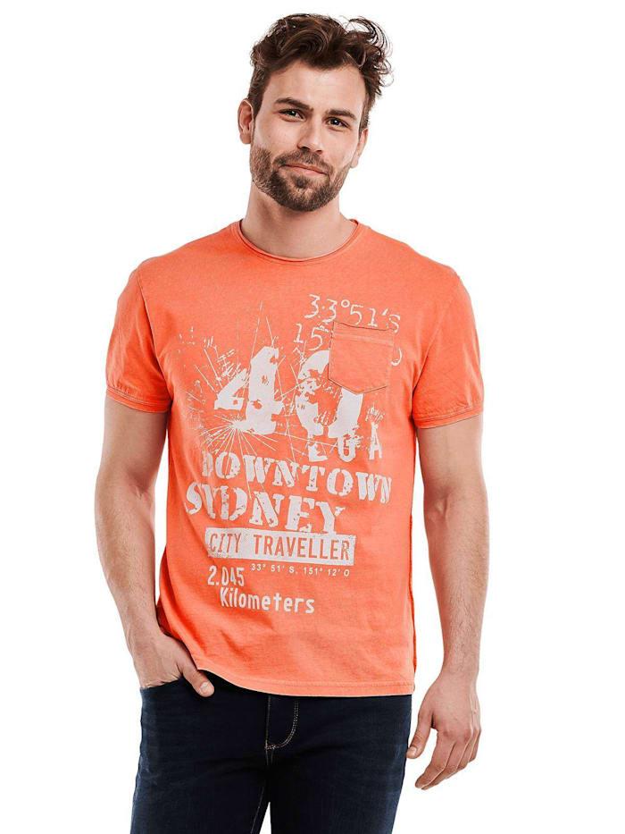 Engbers Rundhals Print T-Shirt, Mandarinorange