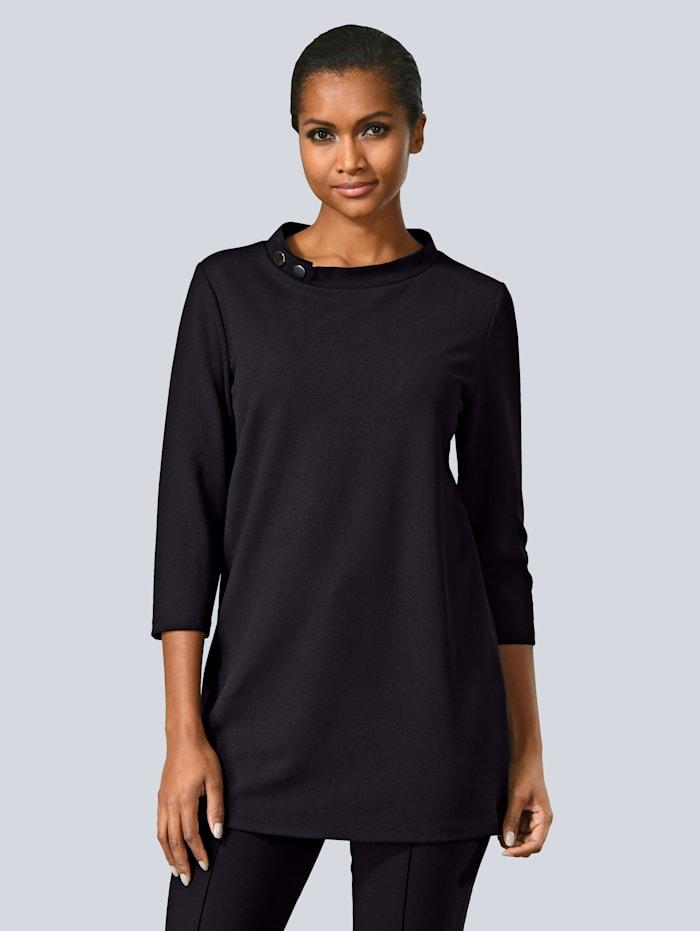 Alba Moda Shirt mit Stehkragen, Schwarz
