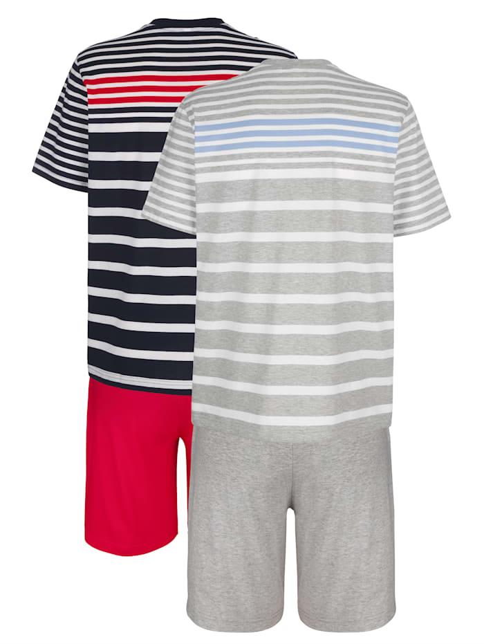 Krátké pyžamo proužky z barveného vlákna