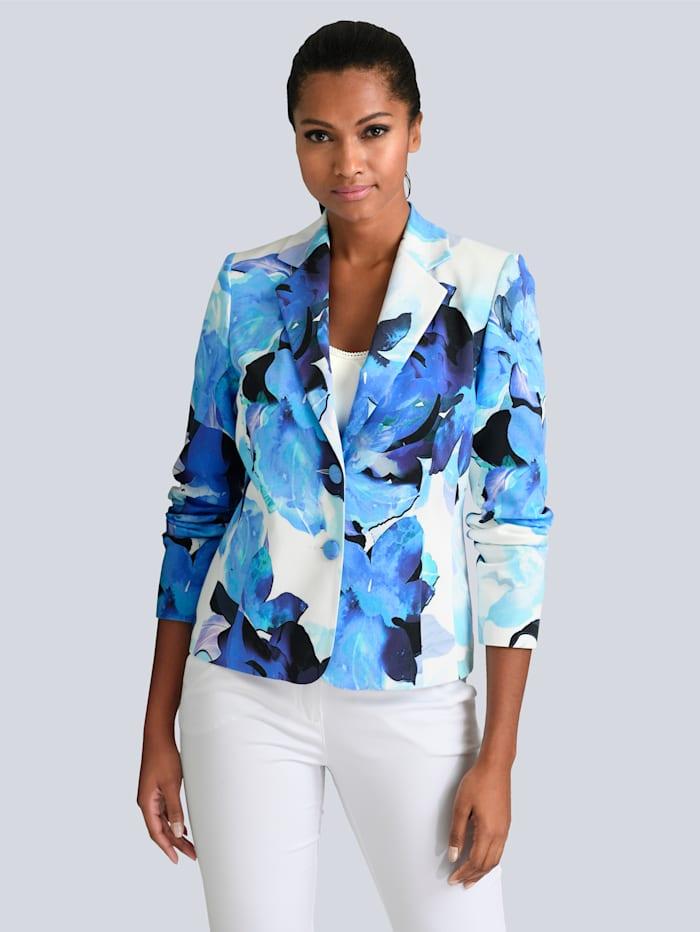 Alba Moda Blazer mit tollem floralem Dessin, Off-white/Blau