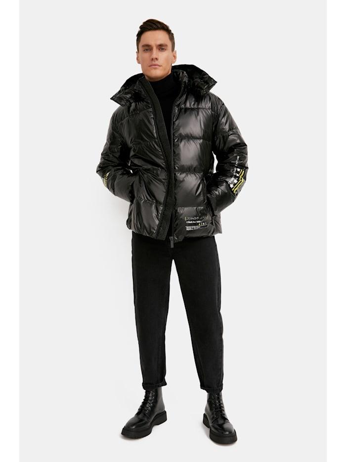 Finn Flare Steppjacke mit trendigem Rückenprint, black