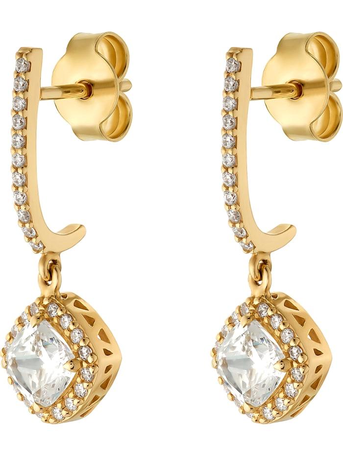 FAVS. FAVS Damen-Ohrhänger 375er Gelbgold 2 Zirkonia, gelbgold