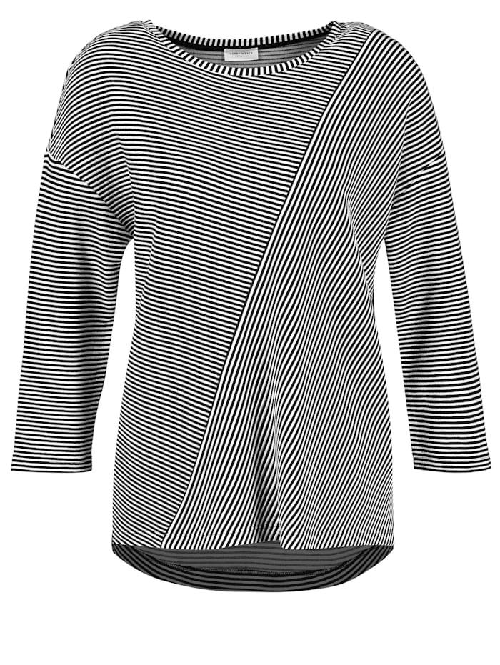 Gerry Weber 3/4 Arm Shirt mit Patchmuster, Schwarz/Ecru/Weiss Ringel
