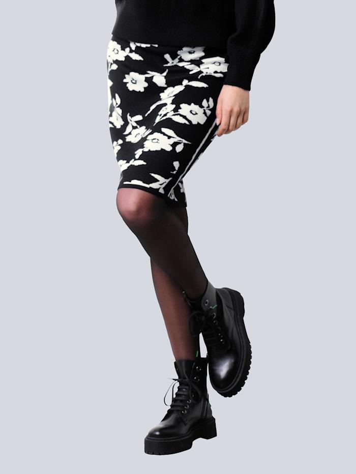 Alba Moda Strickrock mit exklusivem Dessin von Alba Moda, Schwarz/Off-white