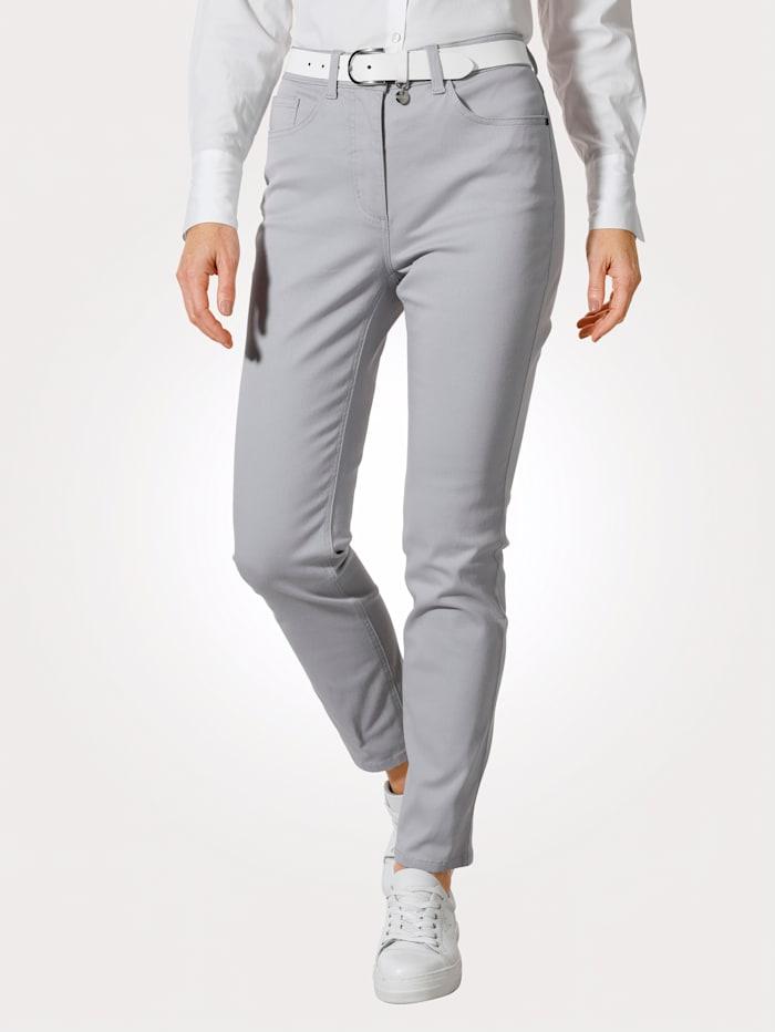 MONA Pantalon avec ceinture partiellement extensible en grandes tailles, Gris argenté