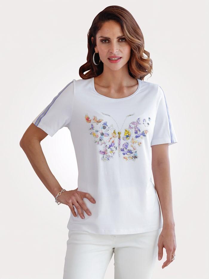 MONA Shirt mit schmückendem Schmetterlingsdruck, Weiß/Lavendel