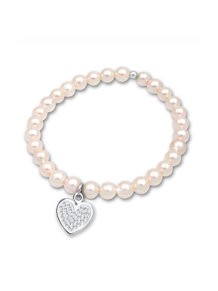 Elli Armband Herz Perle Kristalle 925 Silber, Weiß