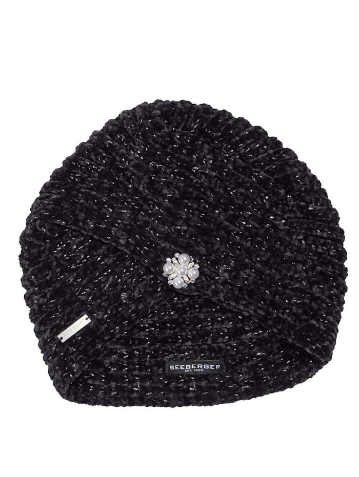 Seeberger Turban mit Brosche, schwarz