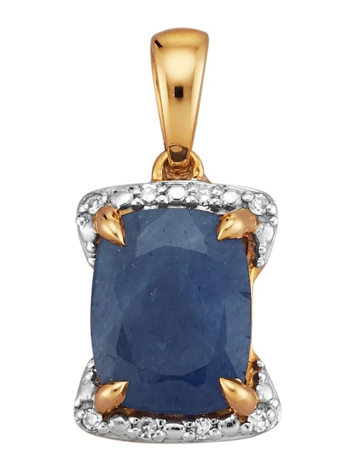 Amara Farbstein Anhänger mit Saphir und Diamanten, Blau