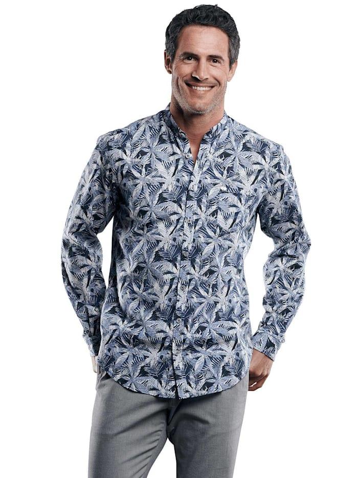 Engbers Strukturiertes Palmenhemd, Saphirblau