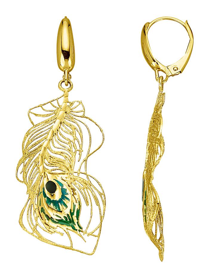 Diemer Gold Pfauenfeder-Ohrringe, Gelbgoldfarben