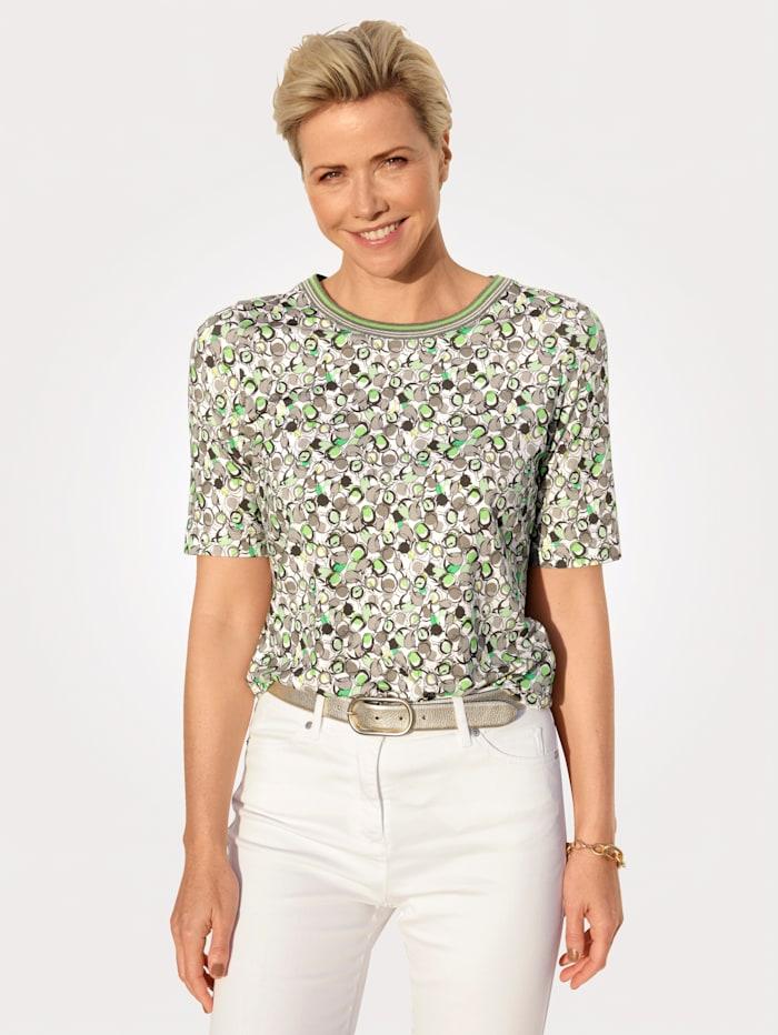 Rabe Shirt met dessin rondom, Lichtgroen/Kaki
