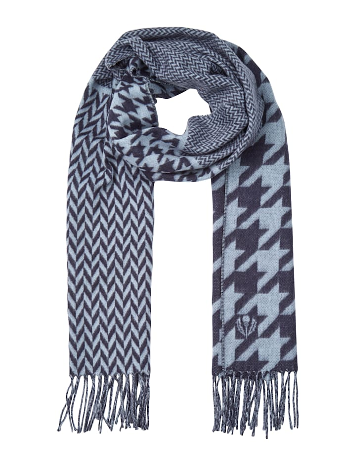 Fraas Scarf made from a soft fabric, Navy/Light Blue