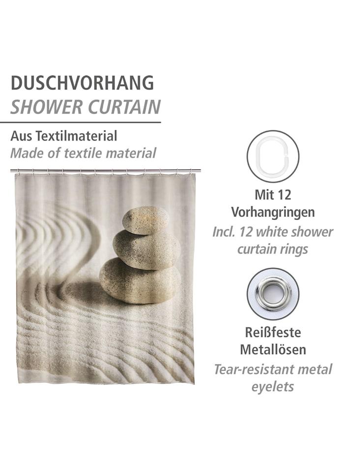 Duschvorhang Sand & Stone, Textil (Polyester), 180 x 200 cm, waschbar