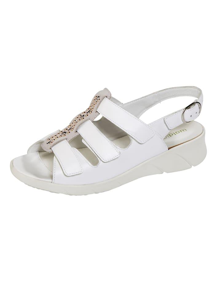 Waldläufer Sandales à petites pierres fantaisie, Blanc