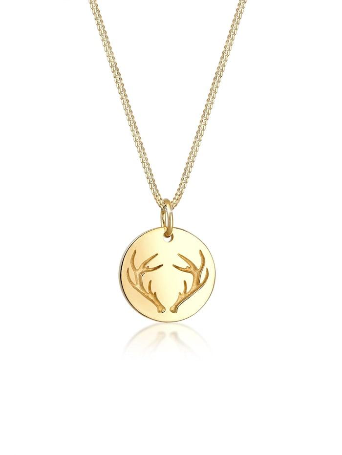 Elli Halskette Geweih Plättchen Anhänger Wiesn 925 Silber, Gold