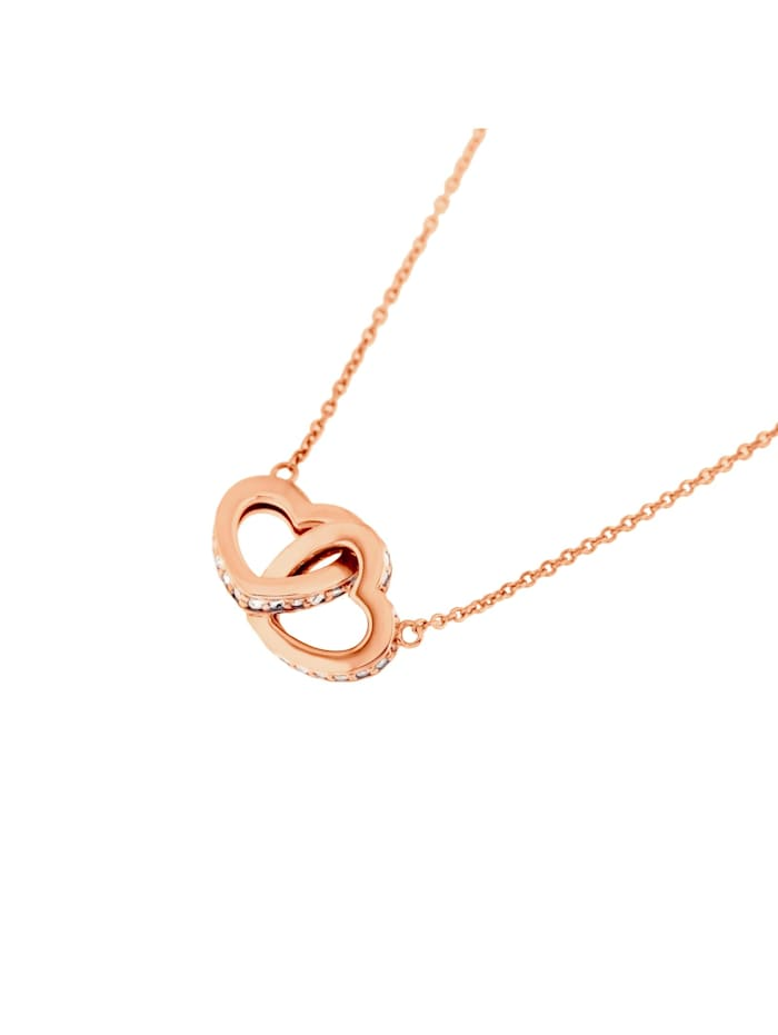Smart Jewel Collier Herzen verschlungen, Zirkonia Steine, glanz, Silber 925, Rosé vergoldet