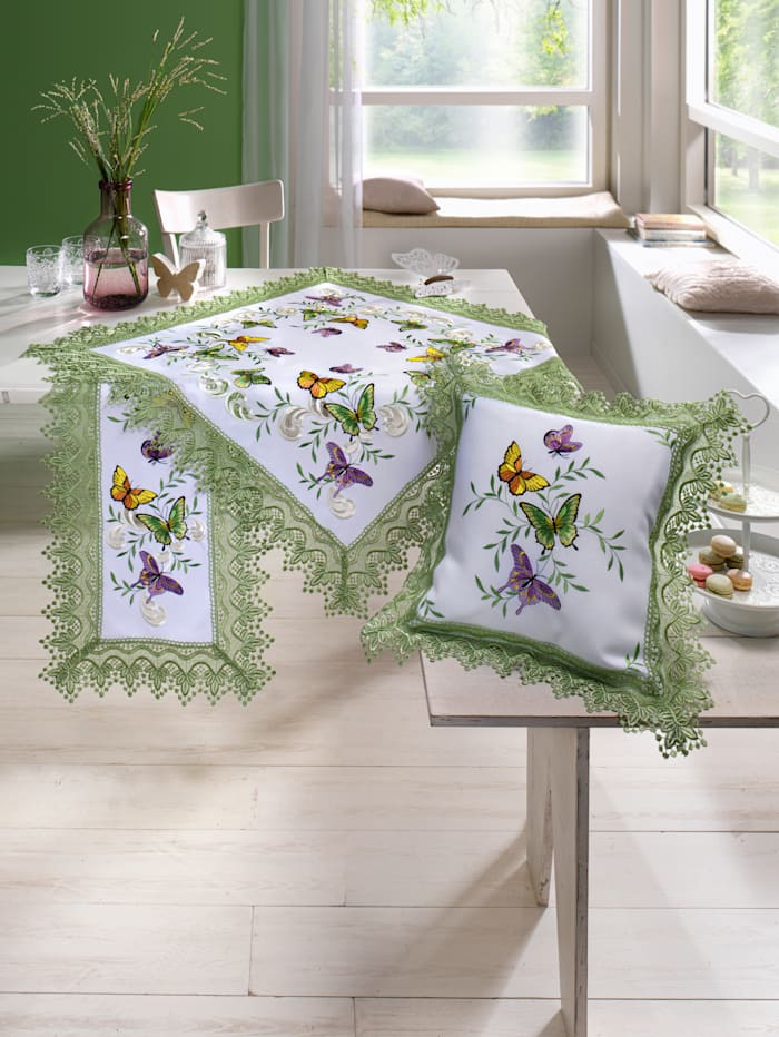 Webschatz Tischwäsche 'Mariposa', weiß/bunt