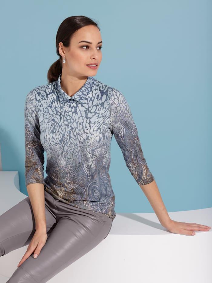 AMY VERMONT Shirt mit modischem Kragen, Flieder/Grau