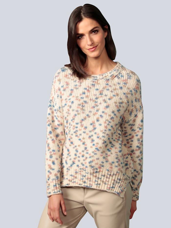 OUI Pullover mit eingestrickten Farbtupfern, Beige