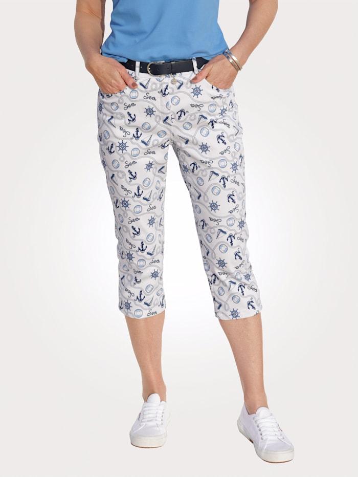 MONA Jeans met maritieme print, Wit/Blauw