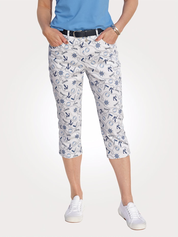 MONA Jeans with a nautical print, White/Blue