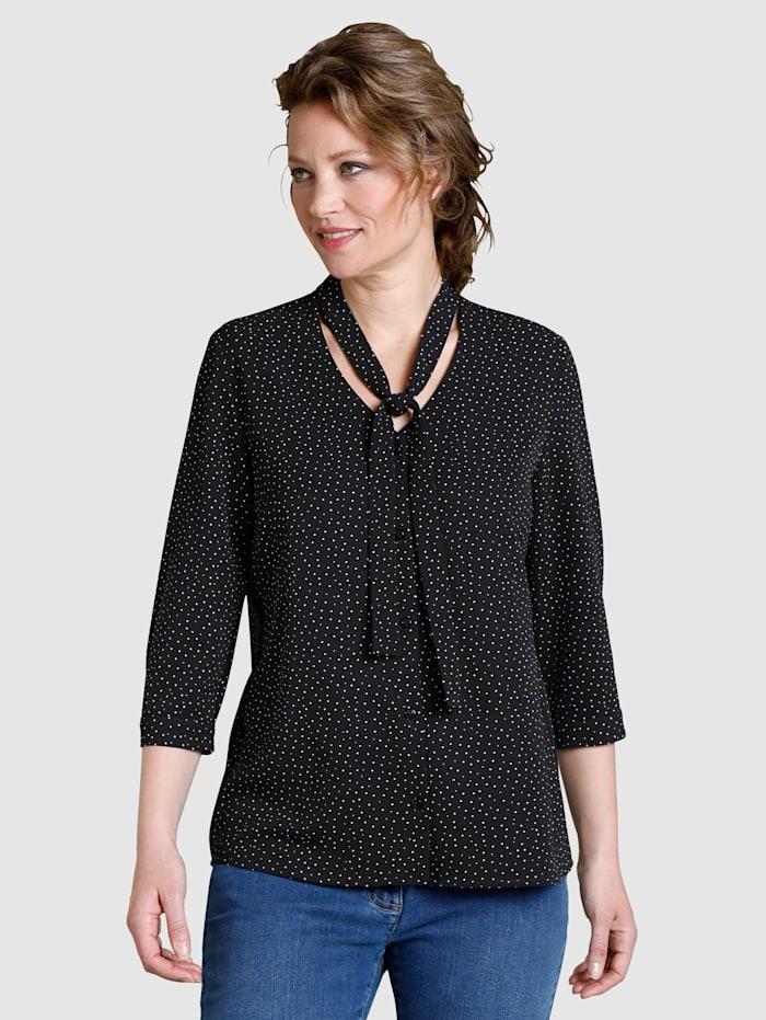 Dress In Bluse gepunktet, Schwarz/Weiß