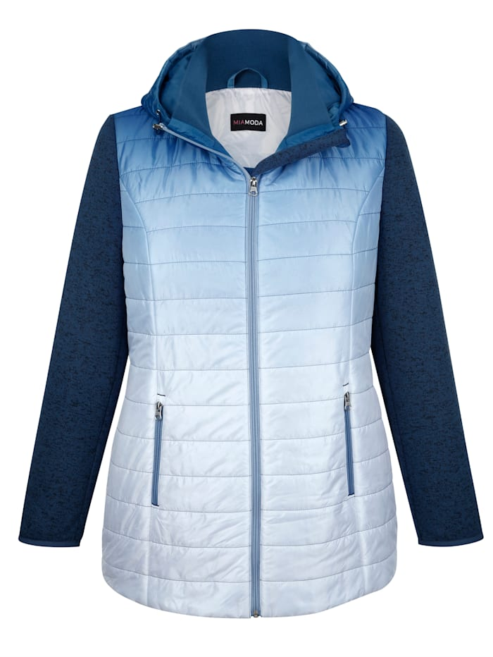 MIAMODA Bunda s rukávy z pleteného fleecu, Modrá/Bílá