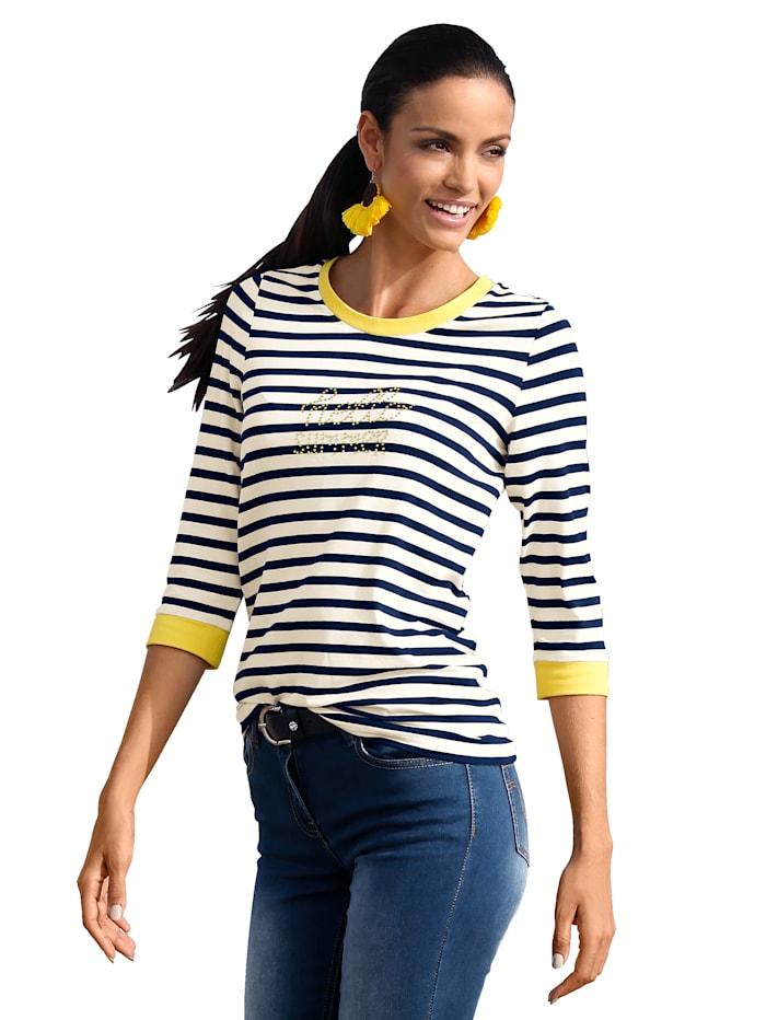 Shirt im Streifendessin und mit Strasssteindekoration im Vorderteil