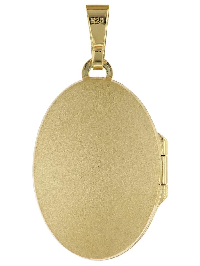 Medaillon mit Kette Gold plattiertes 925 Silber