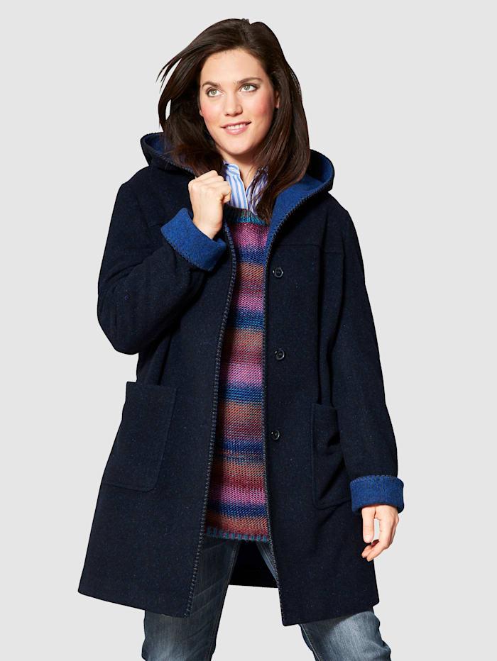 EMANUELE VITTORIANO Manteau en laine à capuche, Marine