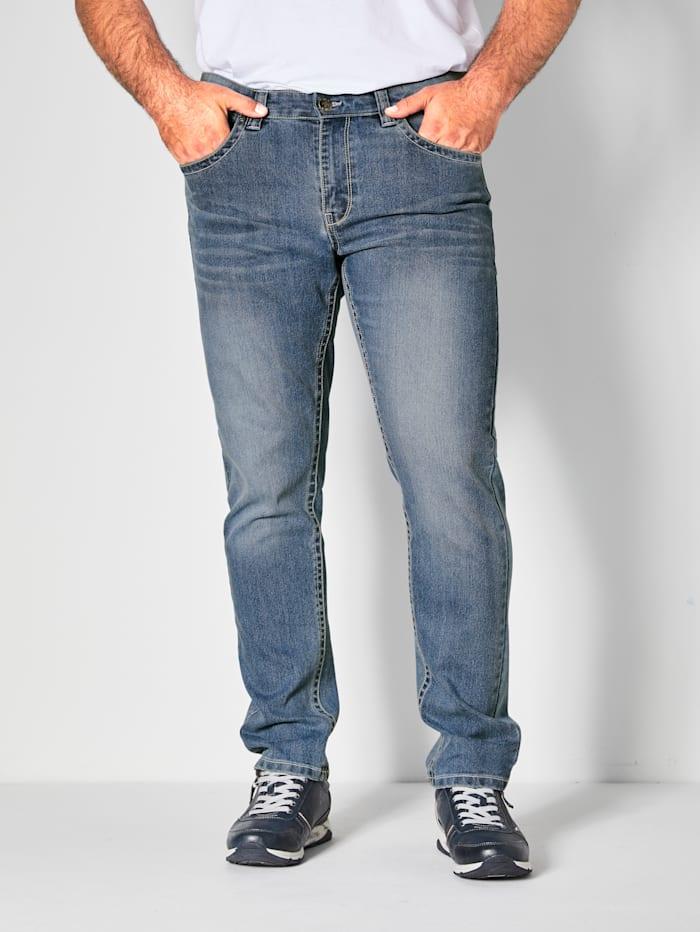 Men Plus Jeans met contrastkleurige naden, Blauw