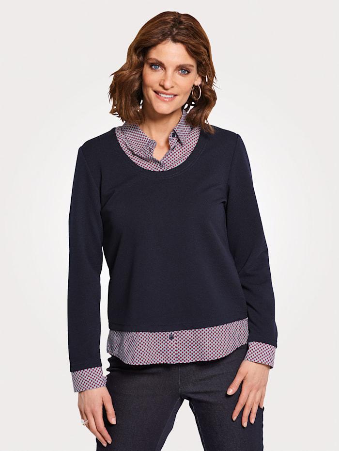 MONA Shirt met overhemdkraag, Blauw/Rood/Wit